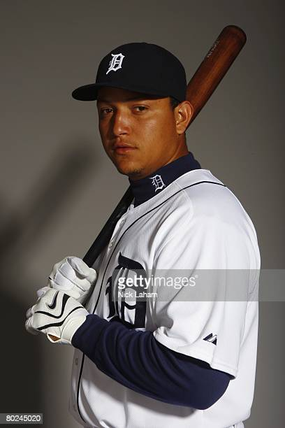 Miguel Cabrera of the Detroit Tigers poses for a portrait during Photo Day on February 23 2008 at Joker Marchant Stadium in Lakeland Florida