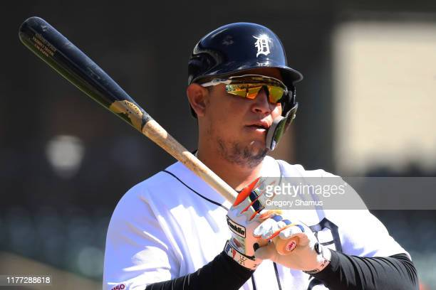 Miguel Cabrera of the Detroit Tigers prepares to bat in the second inning while playing the Minnesota Twins at Comerica Park on September 26, 2019 in...