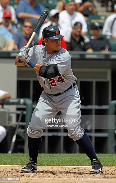 Miguel Cabrera of the Detroit Tigers prepares to hit against the Chicago White Sox at US Cellular Field on June 10 2010 in Chicago Illinois The White...