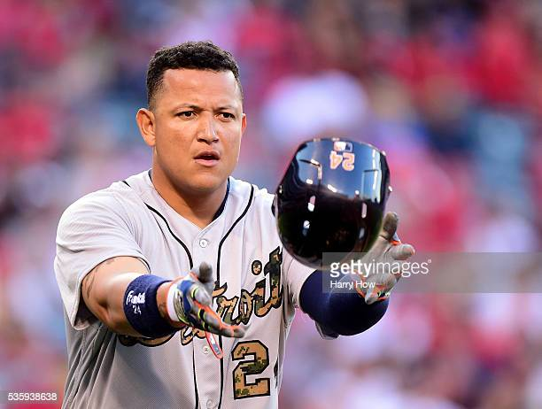 Miguel Cabrera of the Detroit Tigers reacts after his line out to end the fourth inning against the Los Angeles Angels at Angel Stadium of Anaheim on...