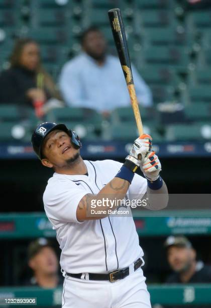 Miguel Cabrera of the Detroit Tigers reacts after hitting a fly ball against the Chicago Cubs for an out during the second inning at Comerica Park on...