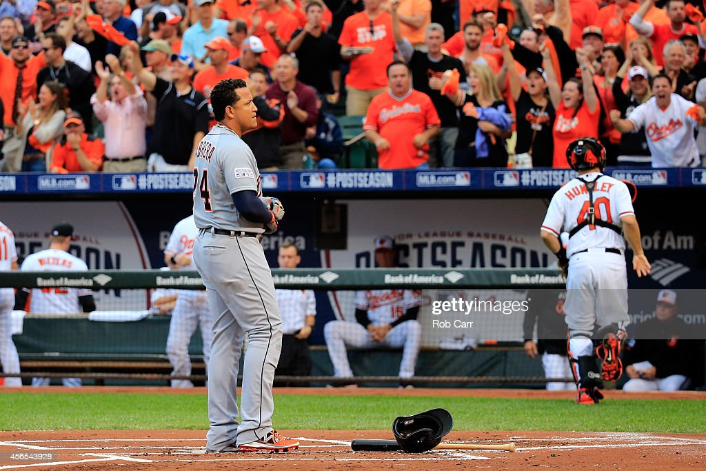 Miguel Cabrera #24 of the Detroit Tigers reacts after striking out against Chris Tillman #30 of the Baltimore Orioles in the first inning during Game One of the American League Division Series at Oriole Park at Camden Yards on October 2, 2014 in Baltimore, Maryland.