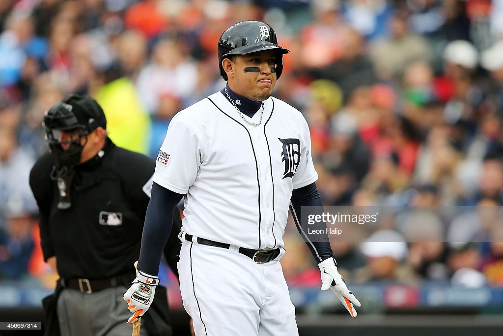 Miguel Cabrera #24 of the Detroit Tigers reacts after striking out in the first inning against the Baltimore Orioles during Game Three of the American League Division Series at Comerica Park on October 5, 2014 in Detroit, Michigan.