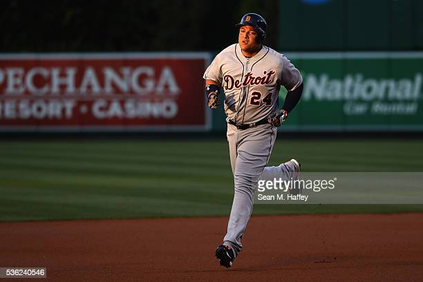 Miguel Cabrera of the Detroit Tigers rounds second base after hitting a solo home run during the first inning of a game against the Los Angeles...