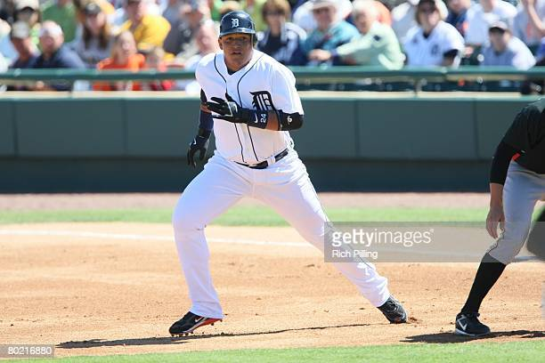 Miguel Cabrera of the Detroit Tigers runs during the game against the Pittsburgh Pirates at the Joker Marchant Stadium in Lakeland Florida on March 9...