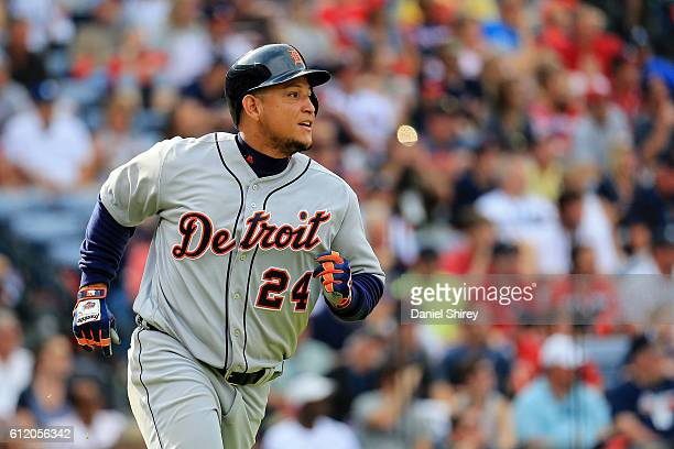 Miguel Cabrera of the Detroit Tigers runs to first before his fly ball is caught in the fourth inning against the Atlanta Braves at Turner Field on...