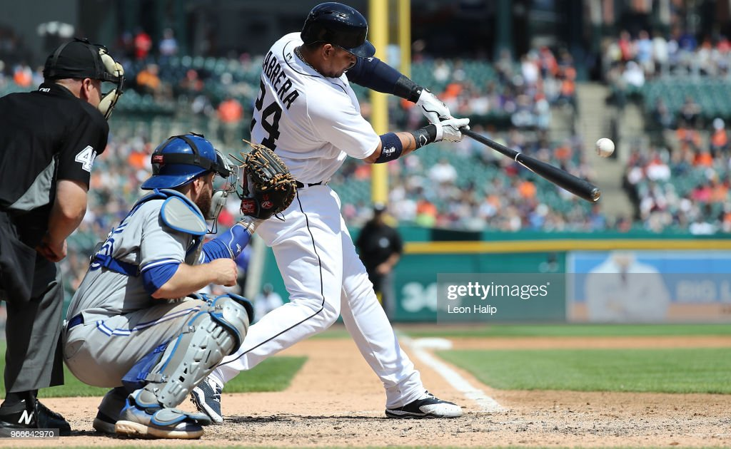 Miguel Cabrera #24 of the Detroit Tigers singles to right field during the eighth inning of the game against the Toronto Blue Jays at Comerica Park on June 3, 2018 in Detroit, Michigan.