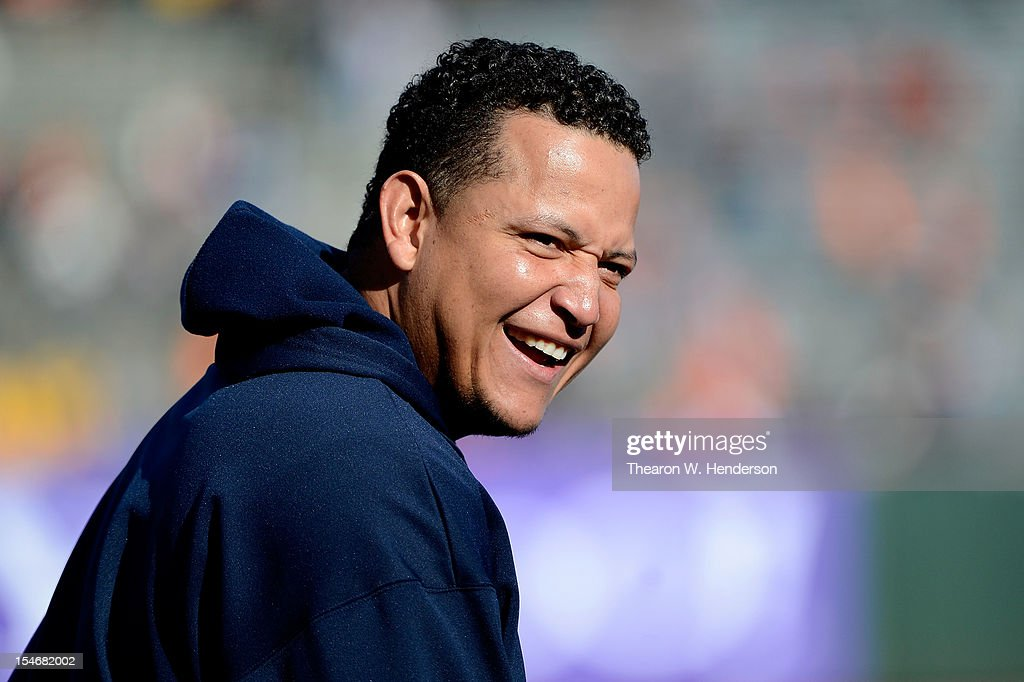 Miguel Cabrera #24 of the Detroit Tigers smiles as he looks on during batting practice against the San Francisco Giants during Game One of the Major League Baseball World Series at AT&T Park on October 24, 2012 in San Francisco, California.