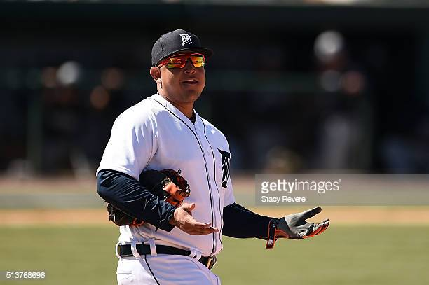 Miguel Cabrera of the Detroit Tigers speaks with fans between innings during a spring training game against the New York Yankees at Joker Marchant...