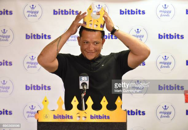 Miguel Cabrera of the Detroit Tigers talks to the media during the press conference to announce his new brand Miggy Foods Miggy's BitBits bitesized...