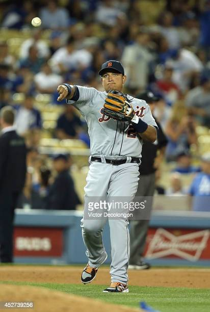 Miguel Cabrera of the Detroit Tigers throws the ball from third base during the MLB game against the Los Angeles Dodgers at Dodger Stadium on April 8...