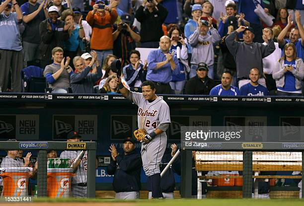 Miguel Cabrera of the Detroit Tigers tips hat as he leaves the game in the fourth inning at Kauffman Stadium on October 3, 2012 in Kansas City,...