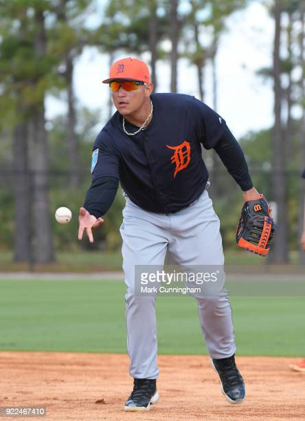 Miguel Cabrera of the Detroit Tigers tosses a baseball during Spring Training workouts at the TigerTown Facility on February 19 2018 in Lakeland...