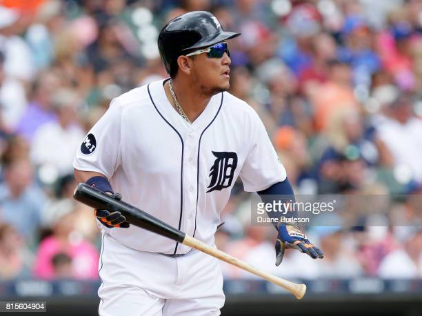 Miguel Cabrera of the Detroit Tigers watches his sacrifice fly ball to center field that scored Nicholas Castellanos of the Detroit Tigers during the...