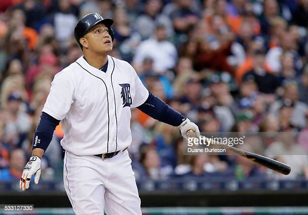 Miguel Cabrera of the Detroit Tigers watches his tworun home run against the Tampa Bay Rays during the third inning at Comerica Park on May 20 2016...