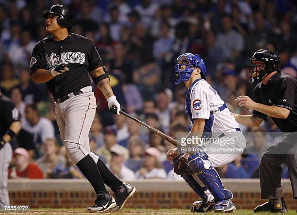 Miguel Cabrera of the Florida Marlins bats against the Chicago Cubs on May 29 2007 at Wrigley Field in Chicago Illinois The Marlins defeated the Cubs...