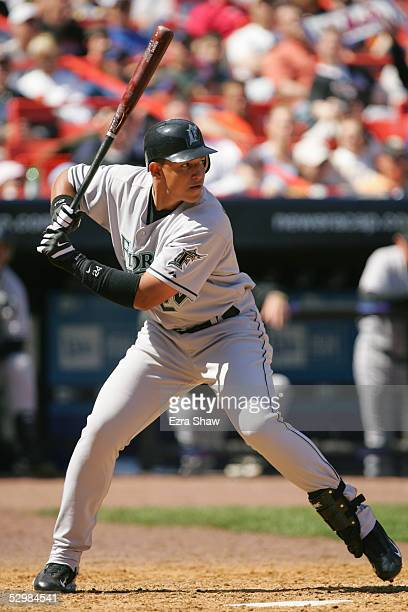 Miguel Cabrera of the Florida Marlins bats against the New York Mets during the game at Shea Stadium on April 16 2005 in Flushing New York The Mets...