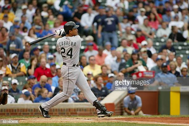 Miguel Cabrera of the Florida Marlins bats during the game against the Chicago Cubs at Wrigley Field on June 15 2005 in Chicago Illinois The Marlins...