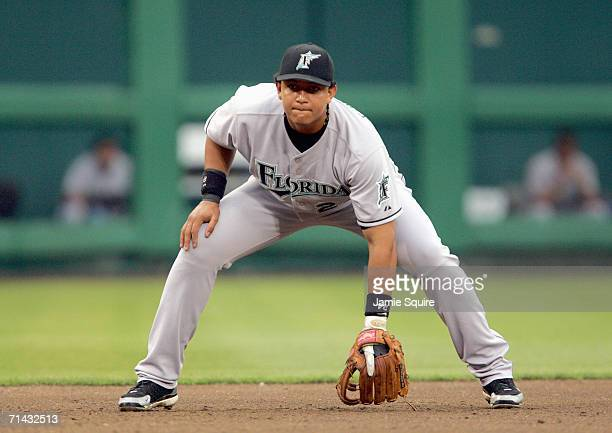 Miguel Cabrera of the Florida Marlins gets ready to field the ball during the game against the Washington Nationals on July 5 2006 at RFK Stadium in...