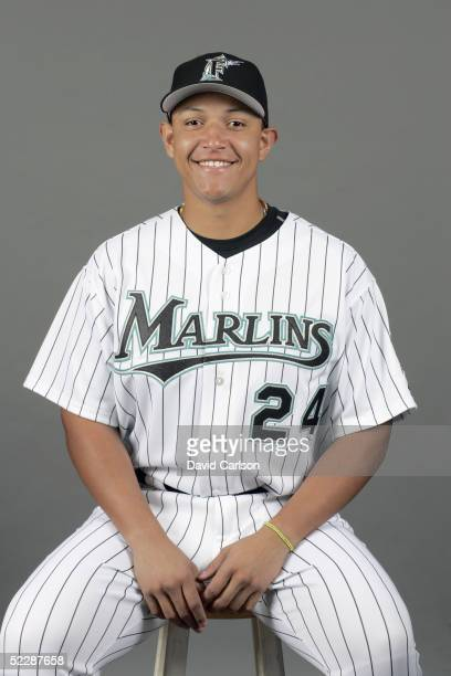 Miguel Cabrera of the Florida Marlins poses for a portrait during photo day at Roger Dean Stadium on February 26 2005 in Jupiter Florida