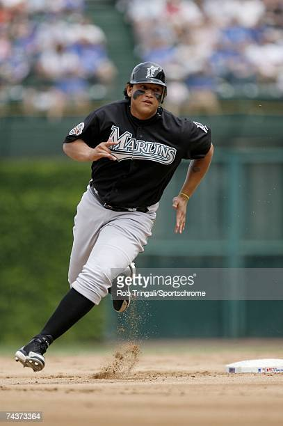 Miguel Cabrera of the Florida Marlins rounds second base on his way to third against the Chicago Cubs on May 28 2007 at Wrigley Field in Chicago...