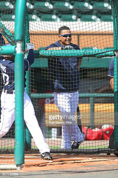 Miguel Cabrera of the Tigers leans on the batting cage before the spring training game between the St Louis Cardinals and the Detroit Tigers at Joker...