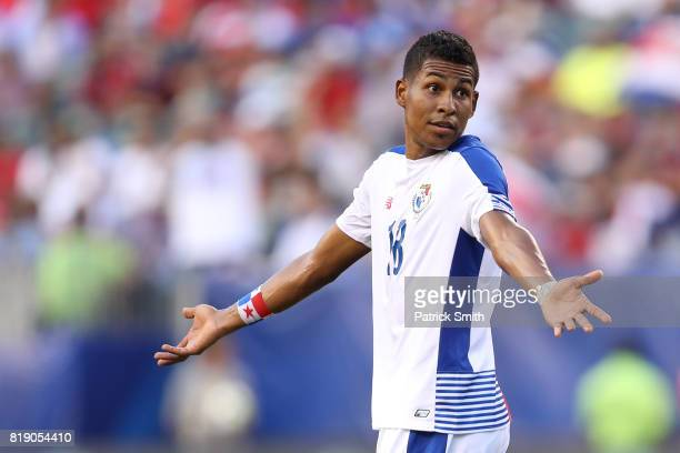 Miguel Camargo of Panama looks on against Costa Rica in the first half during the 2017 CONCACAF Gold Cup Quarterfinal at Lincoln Financial Field on...