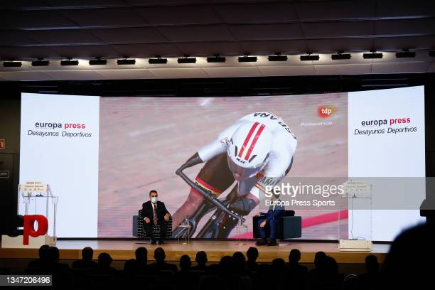 """Miguel Carballeda and Gaspar Diez, journalist, are seen during the Europa Press interview """"Desayunos Deportivos Europa Press"""" to Miguel Carballeda,..."""