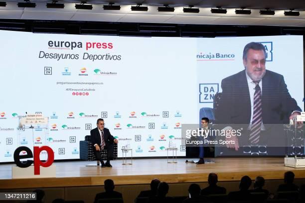 "Miguel Carballeda and Gaspar Diez, journalist, attend during the Europa Press interview ""Desayunos Deportivos Europa Press"" to Miguel Carballeda,..."
