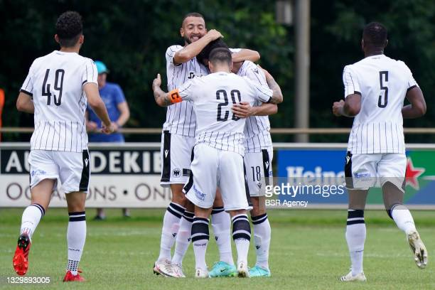 Miguel Castro of PAOK FC celebrates his goal with his teammates during the Pre-season Friendly match between Heracles Almelo and PAOK Saloniki on...