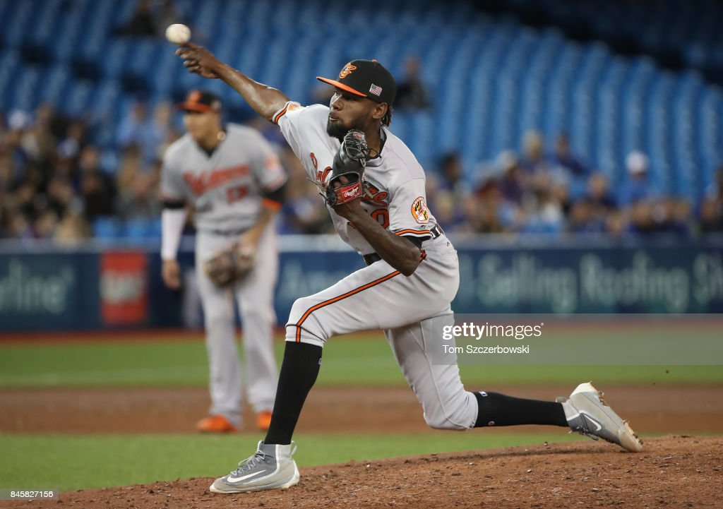 Miguel Castro #50 of the Baltimore Orioles delivers a pitch in the sixth inning during MLB game action against the Toronto Blue Jays at Rogers Centre on September 11, 2017 in Toronto, Canada.