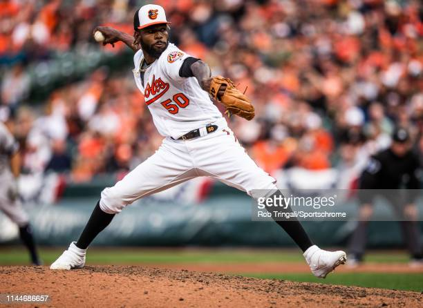 Miguel Castro of the Baltimore Orioles pitches during the game against the New York Yankees at Oriole Park at Camden Yards on April 4 2019 in...