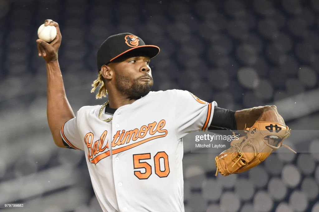 Miguel Castro #50 of the Baltimore Orioles pitches in the fifth inning during a baseball game against the Washington Nationals at Nationals Park on June 20, 2018 in Washington, DC.
