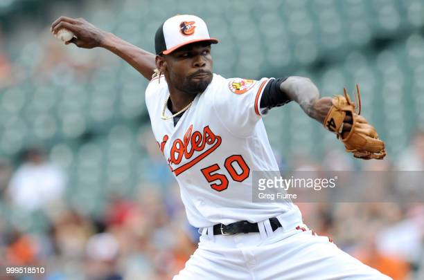 Adam Jones of the Baltimore Orioles hits a threerun double in the third inning against the Texas Rangers at Oriole Park at Camden Yards on July 15...