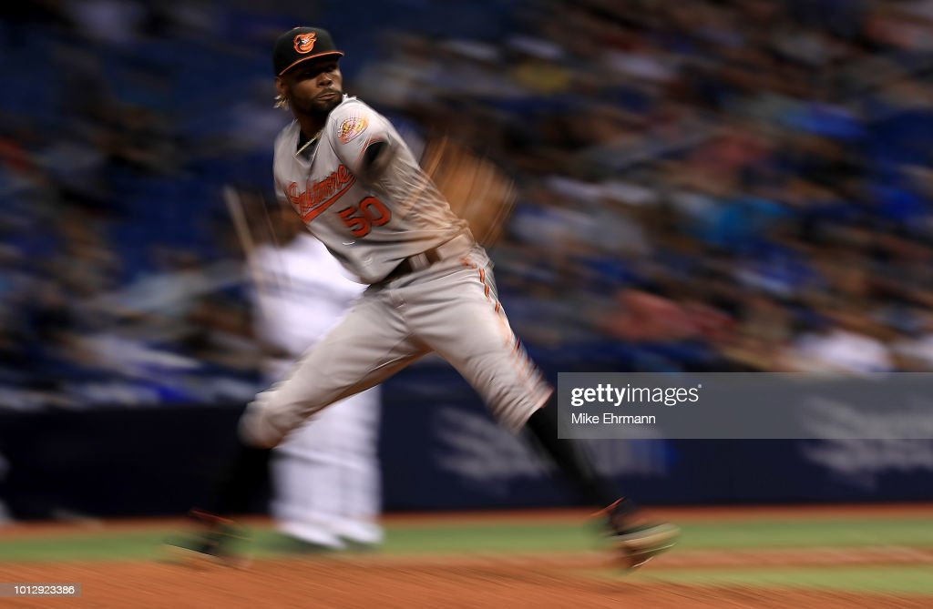 Miguel Castro #50 of the Baltimore Orioles pitches in the ninth inning during a game against the Tampa Bay Rays at Tropicana Field on August 7, 2018 in St Petersburg, Florida.