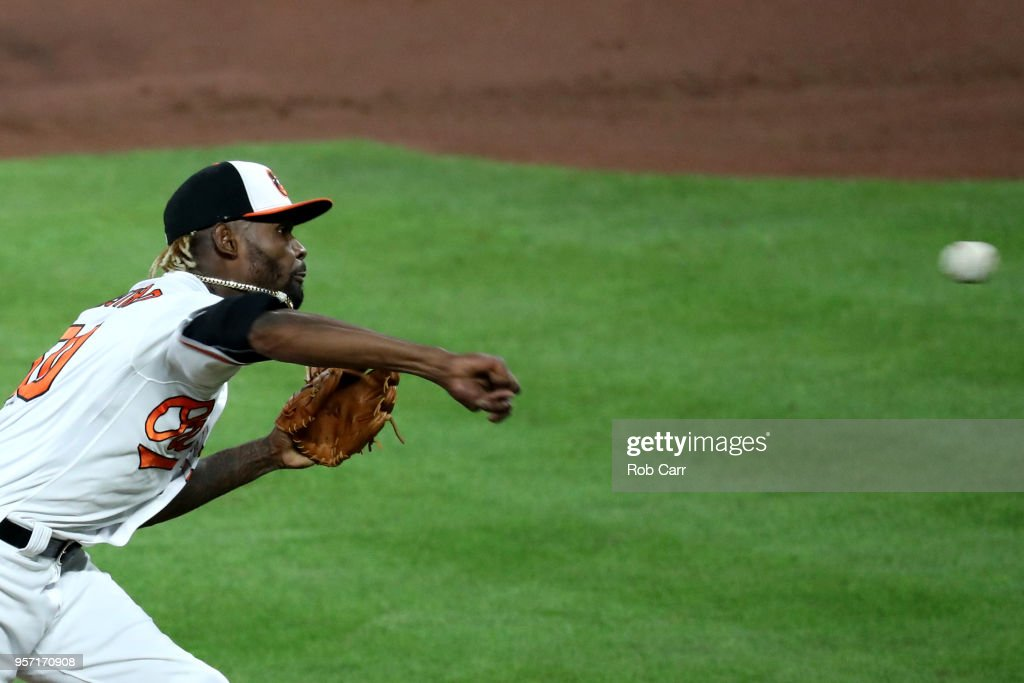 Miguel Castro #50 of the Baltimore Orioles pitches to Kansas City Royals batter at Oriole Park at Camden Yards on May 10, 2018 in Baltimore, Maryland.