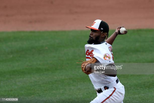 Miguel Castro of the Baltimore Orioles throws to a New York Yankees batter in the eighth inning at Oriole Park at Camden Yards on April 04 2019 in...