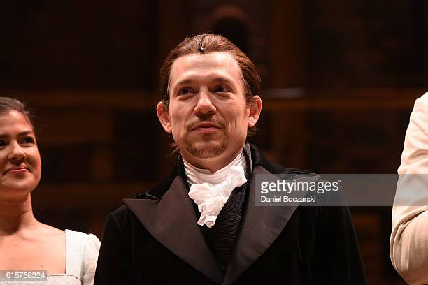 Miguel Cervantes attends the curtain call for Hamilton Chicago opening night at PrivateBank Theatre on October 19 2016 in Chicago Illinois