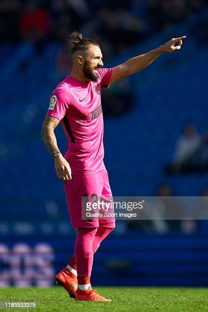 Miguel Cifuentes of Malaga CF reacts during the La Liga Smartbank match between Deportivo de La Coruna and Malaga CF at Abanca Riazor Stadium on...