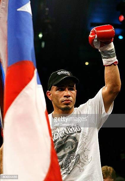 Miguel Cotto celebrates his TKO win over Alfonso Gomez in their WBA World Welterweight Championship bout at Boardwalk Hall on April 12 2008 in...