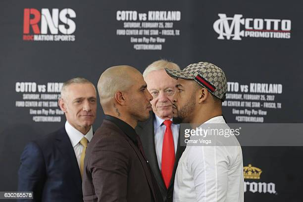 Miguel Cotto Jerry Jones and James Kirkland pose during a press conference to promote the fight between Miguel Cotto and James Kirkland at the Ford...
