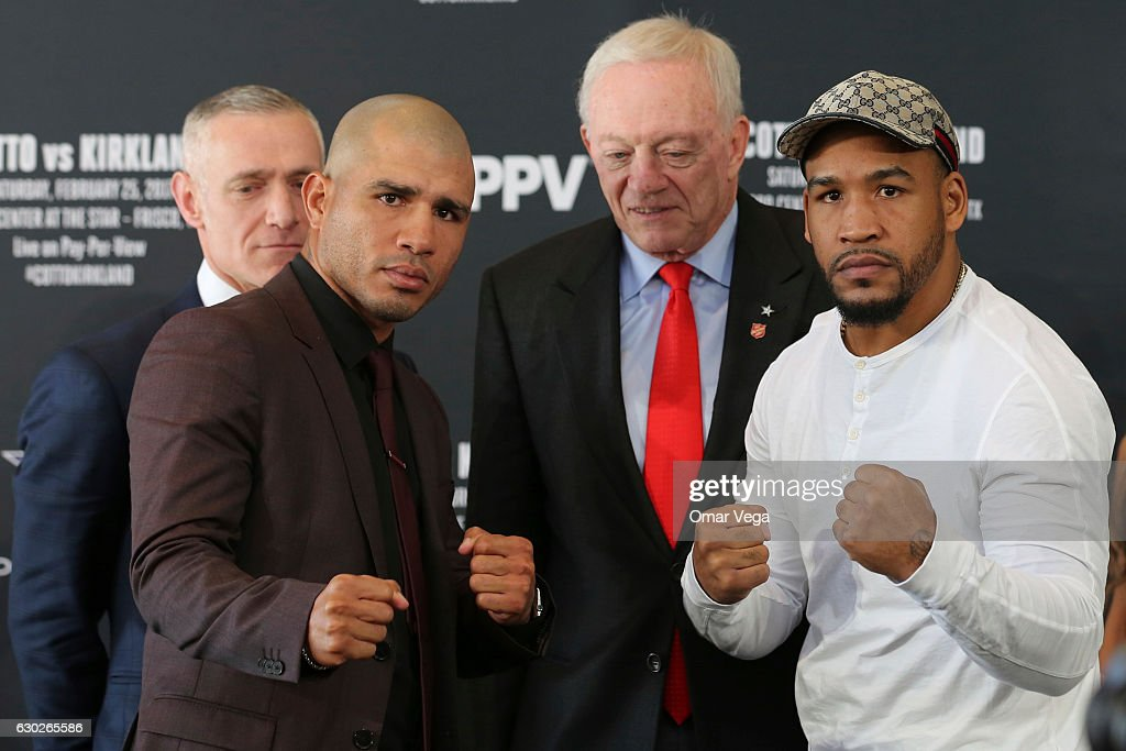 Miguel Cotto, Jerry Jones and James Kirkland pose during a press conference to promote the fight between Miguel Cotto and James Kirkland at the Ford Center in Frisco, TX on December 19, 2016 in Frisco, Texas, United States.