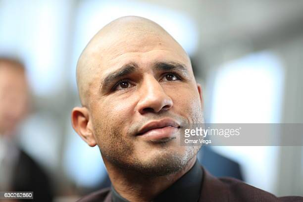 Miguel Cotto looks on during a press conference to promote the fight between Miguel Cotto and James Kirkland at the Ford Center in Frisco TX on...