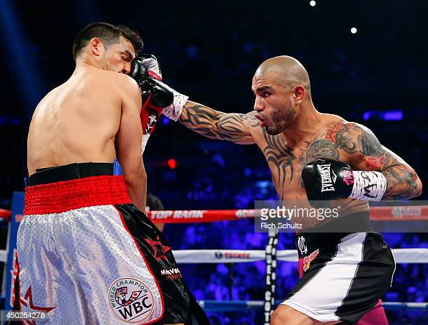 Miguel Cotto of Puerto Rico lands a right punch to the face of Sergio Martinez of Argentina during the first round as they battle for the WBC...