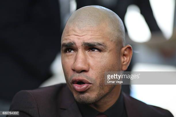 Miguel Cotto speaks during a press conference to promote the fight between Miguel Cotto and James Kirkland at the Ford Center in Frisco TX on...