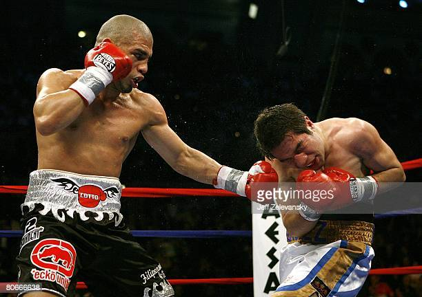 MIguel Cotto throws a punch during his WBA World Welterweight Championship bout against Alfonzo Gomez at Boardwalk Hall on April 12 2008 in Atlantic...