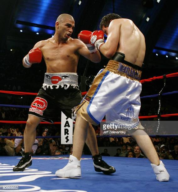 Miguel Cotto throws a punch during his WBA World Welterweight Championship bout against Alfonso Gomez at Boardwalk Hall on April 12 2008 in Atlantic...