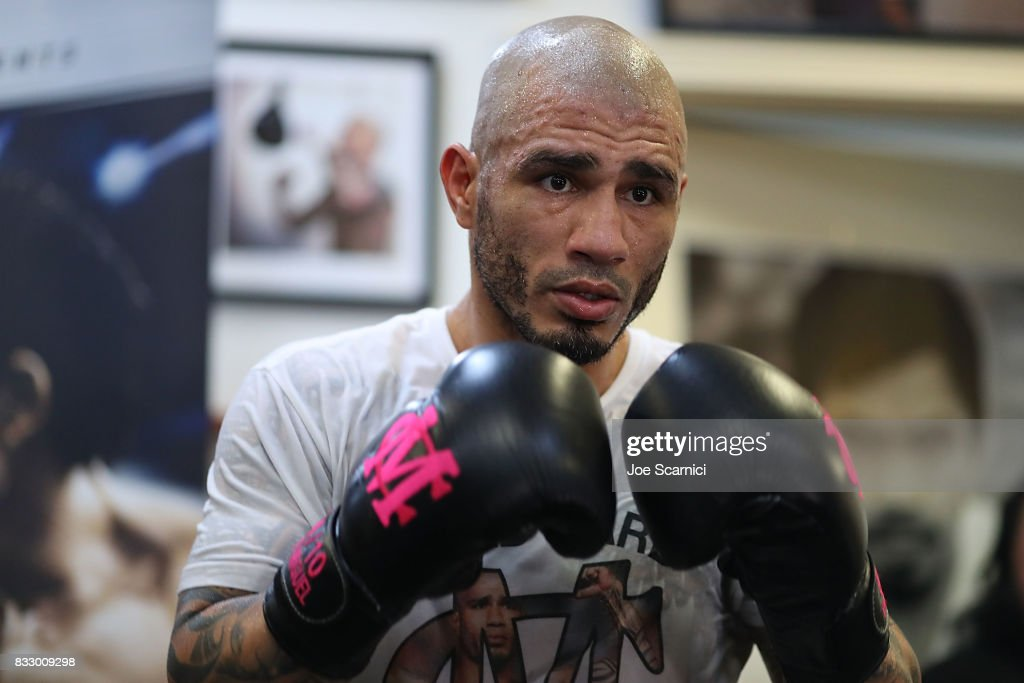 Miguel Cotto trains during a media workout on August 16, 2017 in Los Angeles, California.