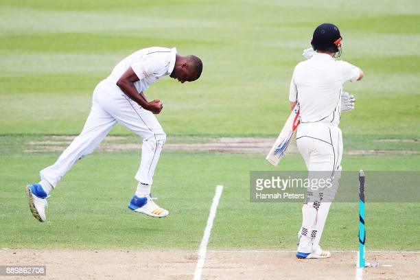Miguel Cummins of the West Indies celebrates the wicket of Henry Nicholls of New Zealand out during day three of the Second Test Match between New...