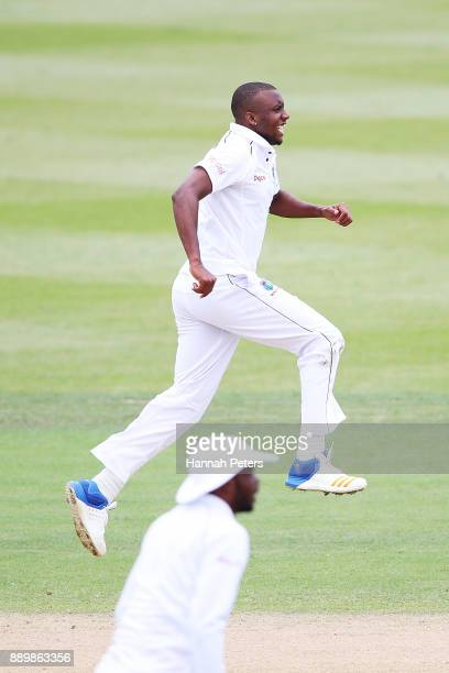 Miguel Cummins of the West Indies reacts after a dropped catch during day three of the Second Test Match between New Zealand and the West Indies at...